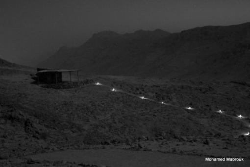 Rooms in moon-light with photocells lights on paths for every room